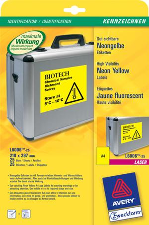 AVERY Zweckform L6006-25 Etiketten in Sonderfarben, 210 x 297 mm, 25 Bogen/25 Etiketten, neongelb L6006-25