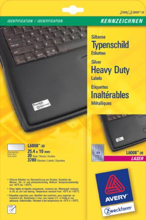 AVERY Zweckform AVERY ZW. Typenschild-Etik. 25,4x10mm L6008-20