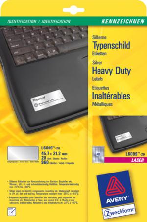 AVERY Zweckform Etikette 45,7x21,2 mm Laser Kennzeichnen silber 20 Bl L6009-20