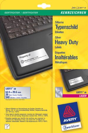 AVERY Zweckform AVERY ZW. Typenschild-Labels 63,5x29,6mm L6011-20