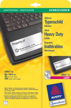 AVERY Zweckform L6012-20 Typenschild-Etiketten, 96 x 50,8 mm, Kennzeichnung Inventar und Eigentum, L6012-20