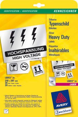 AVERY Zweckform L6013-20 Typenschild-Etiketten, 210 x 297 mm, Kennzeichnung Inventar und Eigentum, L6013-20