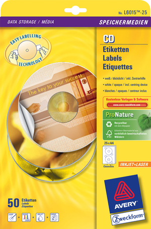 AVERY Zweckform L6015-25 CD-Etiketten ClassicSize, Ø 117 mm, CDs, Zentrierhilfe, 25 Bogen/50 Etiket L6015-25
