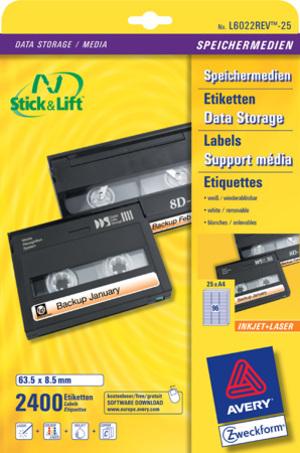 AVERY Zweckform L6022REV-25 Etiketten für Data Cartridge, 63,5 x 8,5 mm, 25 Bogen/2.400 Etiketten, L6022REV-25