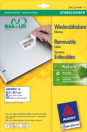 AVERY Zweckform L6023REV-25 Universal-Etiketten, 63,5 x 38,1 mm, 30 Bogen/630 Etiketten, weiss L6023REV-25