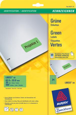 AVERY Zweckform L6033-20 Farbige Etiketten, 63,5 x 33,9 mm, 20 Bogen/480 Etiketten, grün L6033-20