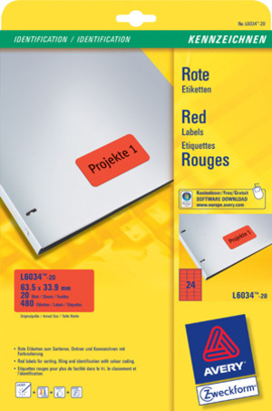 AVERY Zweckform L6034-20 Farbige Etiketten, 63,5 x 33,9 mm, 20 Bogen/480 Etiketten, rot L6034-20