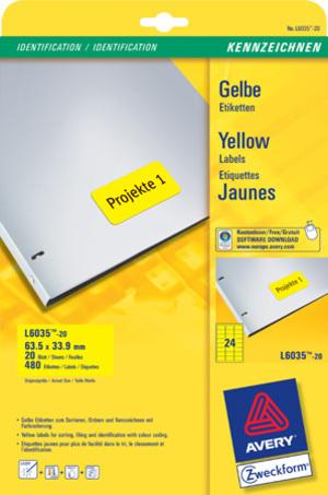 AVERY Zweckform L6035-20 Farbige Etiketten, 63,5 x 33,9 mm, 20 Bogen/480 Etiketten, gelb L6035-20