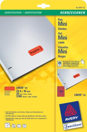 AVERY Zweckform L6036-20 Farbige Etiketten, 25,4 x 10 mm, 20 Bogen/3.780 Etiketten, rot L6036-20