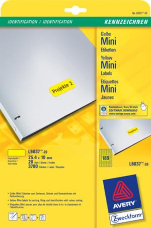 AVERY Zweckform L6037-20 Farbige Etiketten, 25,4 x 10 mm, 20 Bogen/3.780 Etiketten, gelb L6037-20