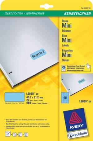 AVERY Zweckform L6039-20 Farbige Etiketten, 45,7 x 21,2 mm, 20 Bogen/960 Etiketten, blau L6039-20