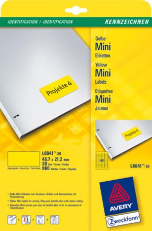 AVERY Zweckform L6041-20 Farbige Etiketten, 45,7 x 21,2 mm, 20 Bogen/960 Etiketten, gelb L6041-20