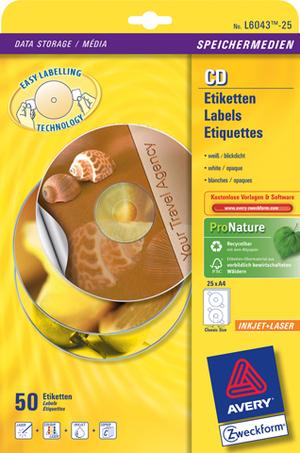 AVERY Zweckform L6043-25 CD-Etiketten ClassicSize, Ø 117 mm, CDs, 25 Bogen/50 Etiketten, weiss L6043-25