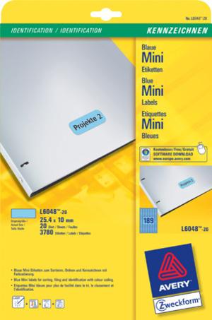 AVERY Zweckform L6048-20 Farbige Etiketten, 25,4 x 10 mm, 20 Bogen/3.780 Etiketten, blau L6048-20