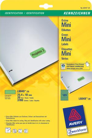 AVERY Zweckform L6049-20 Farbige Etiketten, 25,4 x 10 mm, 20 Bogen/3.780 Etiketten, grün L6049-20