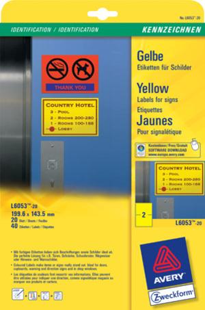 AVERY Zweckform Etiketten Schilder 199,6x143,5mm, ILK, 20Bl/40St L6053-20