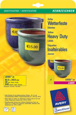 AVERY Zweckform L6105-20 Wetterfeste Folien-Etiketten, 63,5 x 29,6 mm, Kennzeichnung Inventar und E L6105-20