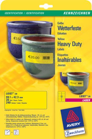 AVERY Zweckform L6107-20 Wetterfeste Folien-Etiketten, 99,1 x 42,3 mm, Kennzeichnung Inventar und E L6107-20