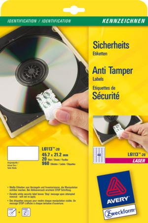AVERY Zweckform L6113-20 Sicherheits-Etiketten, 45,7 x 21,2 mm, Kennzeichnung Inventar und Eigentum, Sicherheitskennzeichnung, Versiegelungen / Wartungssiegel, 20 Bogen/960 Etiketten, weiss L6113-20