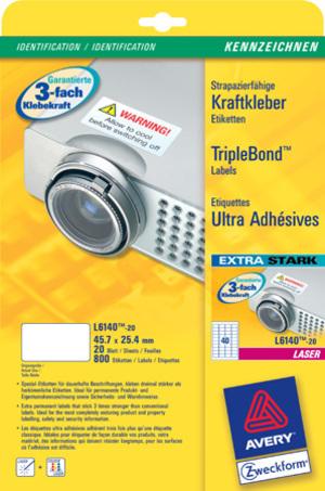 AVERY Zweckform L6140-20 Kraftkleber-Etiketten, 45,7 x 25,4 mm, Kennzeichnung Inventar und Eigentum L6140-20