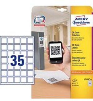 AVERY Zweckform L7120-25 QR Code Etiketten, 35 x 35 mm, 25 Bogen/875 Etiketten, weiss L7120-25