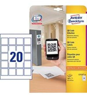 AVERY Zweckform L7121-25 QR Code Etiketten, 45 x 45 mm, 25 Bogen/500 Etiketten, weiss L7121-25
