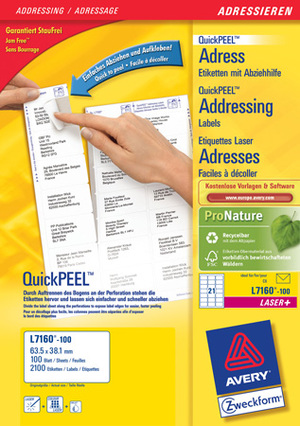 AVERY Zweckform AVERY ZW. Etiketten Adress 63,5x28,1mm L7160-100