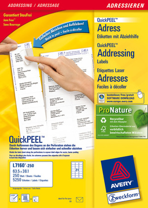 AVERY Zweckform L7160-250 Adress-Etiketten, 63,5 x 38,1 mm, C6 Kuverts, Deutsche Post INTERNETMARKE L7160-250