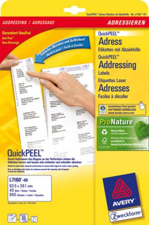 AVERY Zweckform L7160-40 Adress-Etiketten, 63,5 x 38,1 mm, C6 Kuverts, Deutsche Post INTERNETMARKE, L7160-40