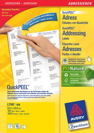 AVERY Zweckform L7161-100 Adress-Etiketten, 63,5 x 46,6 mm, C6 Kuverts, 100 Bogen/1.800 Etiketten, L7161-100