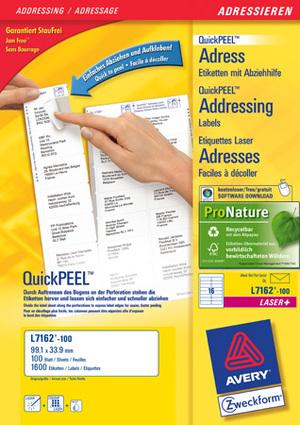 AVERY Zweckform L7162-100 Adress-Etiketten, 99,1 x 33,9 mm, DIN lang Kuverts, 100 Bogen/1.600 Etiketten, weiss L7162-100