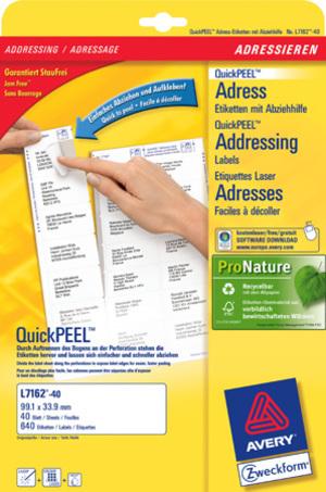 AVERY Zweckform L7162-40 Adress-Etiketten, 99,1 x 33,9 mm, DIN lang Kuverts, 40 Bogen/640 Etiketten L7162-40