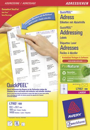 AVERY Zweckform L7163-100 Adress-Etiketten, 99,1 x 38,1 mm, DIN lang Kuverts, 100 Bogen/1.400 Etike L7163-100