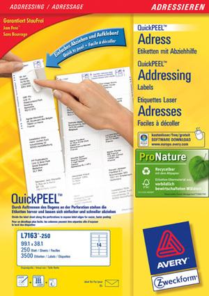 AVERY Zweckform L7163-250 Adress-Etiketten, 99,1 x 38,1 mm, DIN lang Kuverts, 250 Bogen/3.500 Etiketten, weiss L7163-250