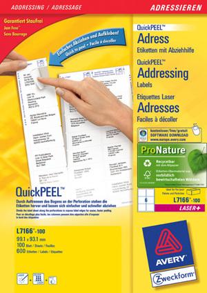 AVERY Zweckform L7166-100 Versandetiketten, 99,1 x 93,1 mm, Pakete, Päckchen, 100 Bogen/600 Etiketten, weiss L7166-100