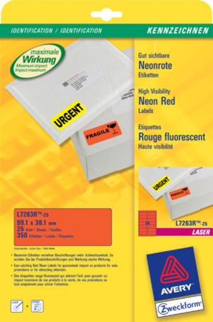AVERY Zweckform L7263R-25 Etiketten in Sonderfarben, 99,1 x 38,1 mm, 25 Bogen/350 Etiketten, neonrot L7263R-25