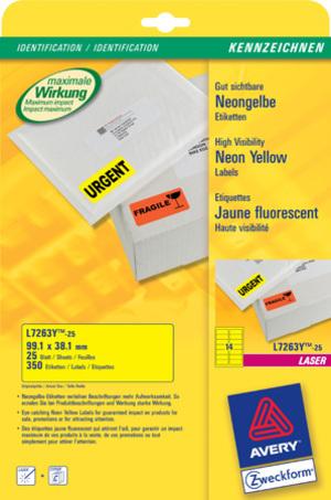 AVERY Zweckform L7263Y-25 Etiketten in Sonderfarben, 99,1 x 38,1 mm, 25 Bogen/350 Etiketten, neonge L7263Y-25