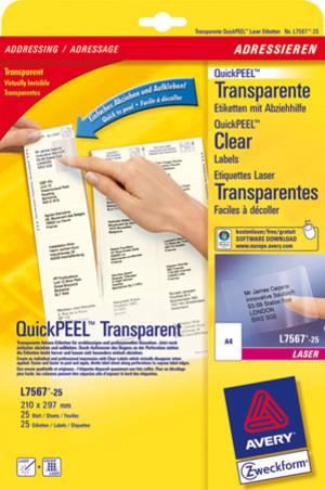 AVERY Zweckform L7567-25 Versandetiketten, 210 x 297 mm, Pakete, Päckchen, 25 Bogen/25 Etiketten, t L7567-25