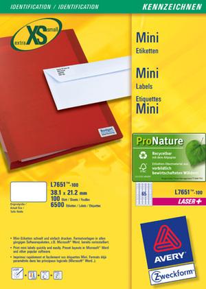 AVERY Zweckform L7651-100 Adress-Etiketten, 38,1 x 21,2 mm, Absender-Etiketten, 100 Bogen/6.500 Eti L7651-100
