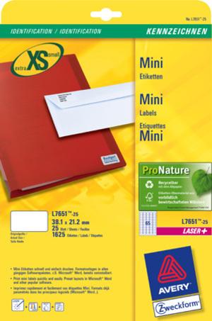 AVERY Zweckform L7651-25 Adress-Etiketten, 38,1 x 21,2 mm, Absender-Etiketten, 25 Bogen/1.625 Etike L7651-25