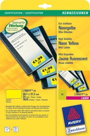 AVERY Zweckform L7651Y-25 Etiketten in Sonderfarben, 38,1 x 21,2 mm, 25 Bogen/1.625 Etiketten, neongelb L7651Y-25