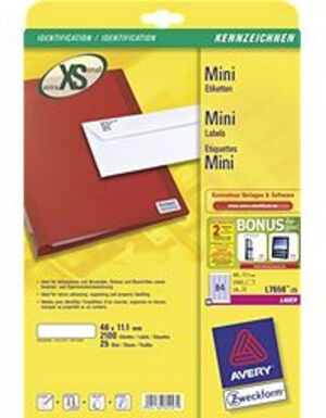 AVERY Zweckform L7656-25 Mini-Organisations-Etiketten, 46 x 11,1 mm, 25 Bogen/2.100 Etiketten, weiss L7656-25