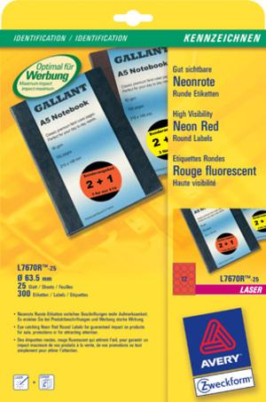 AVERY Zweckform L7670R-25 Etiketten in Sonderfarben, Ø 63,5 mm, 25 Bogen/300 Etiketten, neonrot L7670R-25