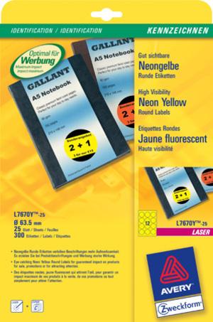 AVERY Zweckform L7670Y-25 Etiketten in Sonderfarben, Ø 63,5 mm, 25 Bogen/300 Etiketten, neongelb L7670Y-25