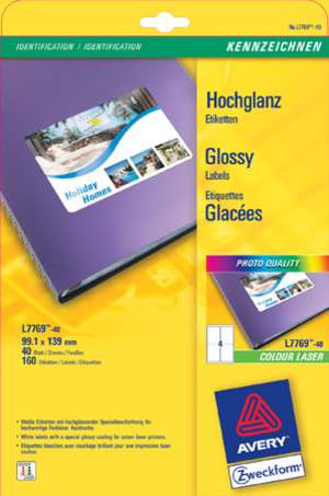 AVERY Zweckform L7769-40 Hochglanz-Etiketten, 99,1 x 139 mm, 40 Bogen/160 Etiketten, weiss L7769-40