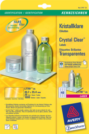 AVERY Zweckform L7781-25 Kristallklare Etiketten, 45,7 x 25,4 mm, 25 Bogen/1.000 Etiketten, klar L7781-25