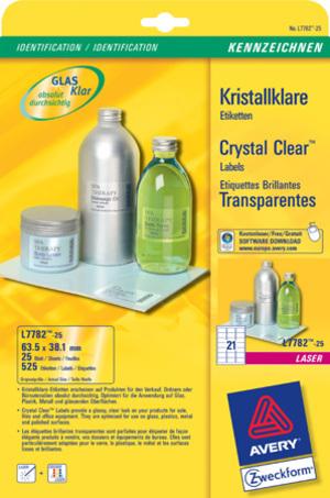 AVERY Zweckform L7782-25 Kristallklare Etiketten, 63,5 x 38,1 mm, 25 Bogen/525 Etiketten, klar L7782-25