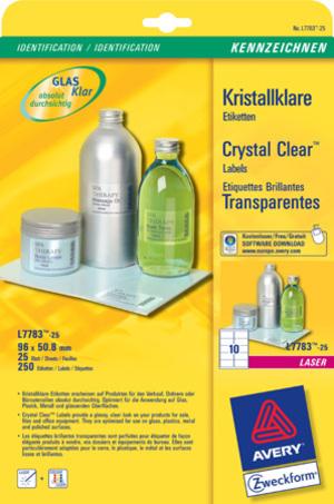 AVERY Zweckform L7783-25 Kristallklare Etiketten, 96 x 50,8 mm, 25 Bogen/250 Etiketten, klar L7783-25