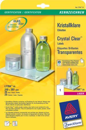 AVERY Zweckform L7784-25 Kristallklare Etiketten, 210 x 297 mm, 25 Bogen/25 Etiketten, klar L7784-25
