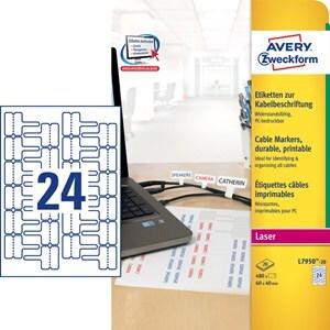 AVERY Zweckform L7950-20 Etiketten zur Kabelbeschriftung, 60 x 40 mm, Beschriftung von Kabeln, 20 B L7950-20